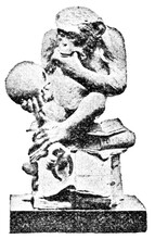 Bronze Statuette Of A Monkey Looking At A Human Skull. Illustration Of The 19th Century. Germany. White Background.