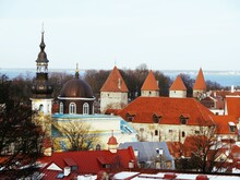 Ancient Turrets And Red-tiled Roofs Of Tallinn's Old Town