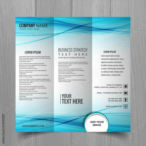 Fotografie, Obraz folleto azul con lineas onduladas triptico