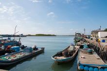 Fishing Boats Moored In Port. Taiwan.