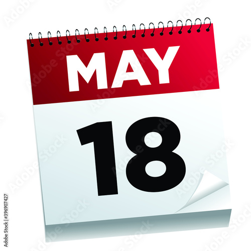 May 18th on a calendar page - illustrated.  Wall mural