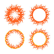 Round Fire Frames For Designs, Vector Set