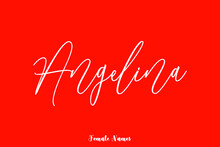 """Handwritten Cursive Text Female Name """"Angelina"""" On Red Background"""