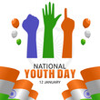 vector graphic of national youth day good for national youth day celebration. flat design. flyer design.flat illustration.