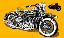 Classic Motorcycle In Woodcut Style