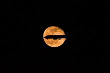 月、月夜、立待月、月と飛行機のoverlapping、夜景、大阪