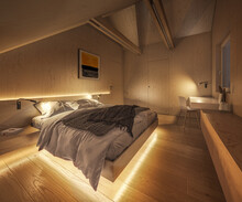 Interior Of A Modern Plywood Bedroom At Night Showcase