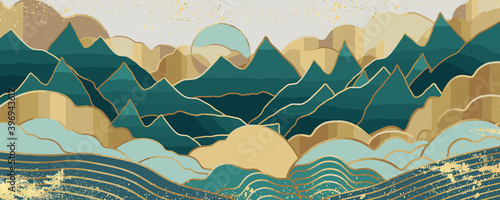 Gold mountain wallpaper design with landscape line arts, Golden luxury background design for cover, invitation background, packaging design, wall arts, fabric, and print. Vector illustration.