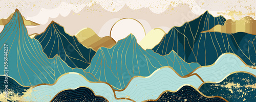 Gold mountain wallpaper design with landscape line arts, Golden luxury background design for cover, invitation background, packaging design, wall arts, fabric, and print. Vector illustration. - fototapety na wymiar