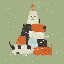 Fir-tree Of Cats. Spruce Of Pet. Christmas Tree From Cats