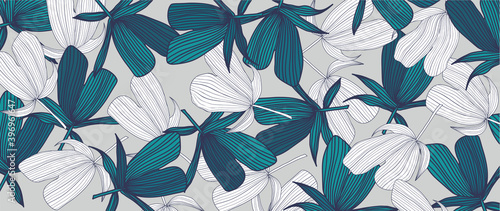 Fotografia, Obraz Green tropical leaves wallpaper background vector