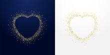 Golden Sparkling Stroke Heart With Dust Glitter Graphic, Dark And White Backgrounds. Decorative Glowing Dots, Shiny Texture, Creative Design. Discount Badge, Ring With Empty Center. Lovely Vector Sign