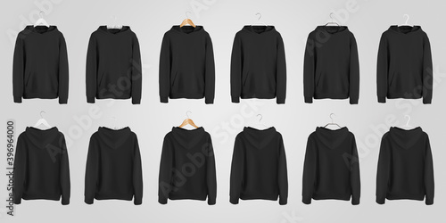 Obraz Mockup of a black blank hoodie with a pocket on different hangers, casual sweatshirt for presentation of design, print. - fototapety do salonu