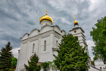 Stone Cathedral Of Boris And Gleb, Built In Middle Of XVI Century. Descent Of The Holy Spirit In Borisoglebsky Monastery, Dmitrov, Moscow Region, Russia.