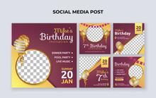Birthday Party Invitation Social Media Banner Template