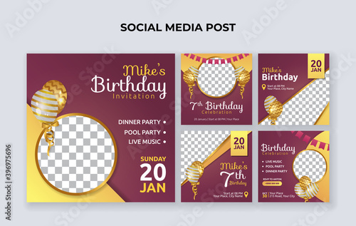 Birthday party invitation social media banner template Wallpaper Mural