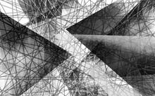 Monochrome Geometric Illustration, Crisscrossing Lines And Large Triangles