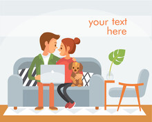 Vector Portrait Picture Of Young Family,couple With Puppy Sitting On The Couch Sofa,doing Online Shopping Order,having Conversation Talk Over Video Chat,watching Video Photo Content On Laptop