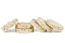 Diet Popped Wheat Cakes Isolated On White Background