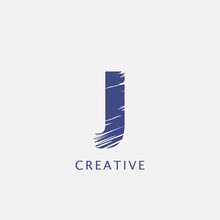 Letter J Abstract Brush Stroke Logo Design. Classy Monogram Paint Logo Letter Icon With Elegant Brush Shape Design.
