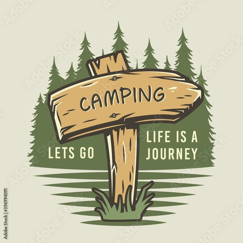 Foto Camp wooden pointer for camping and outdoor travel expedition or t-shirt print