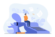 Tiny Screenwriter Sitting On Retro Typewriter, Thinking Screenplay While Paper Drafts Flying Around Author. Vector Illustration For Creative Job, Book Or Story Writing Concept