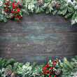 canvas print picture - Christmas and New Year background with fir branches and snowfall on dark wooden board