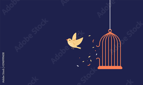 Valokuvatapetti Bird breaking out of cage to gain freedom - Vector illustration with copy space for text