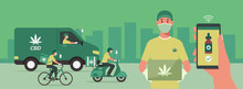 CBD Delivery Concept, Delivery Men On Vihecles On The Way And Holding Box Waiting For Customer, Human Hand Using Phone With Mobile App Order Cannabis Online, Smart Logistic, Vector Flat Illustration