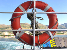 Ring Life Buoy, Also Known As A Kisby Ring Or Perry Buoy Hanging From A Ferry Boat