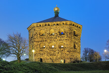 Skansen Kronan (the Crown Redoubt) On Top Of Skansberget Hill Of Gothenburg, Sweden In Evening. The Plate Above The Entrance Reads: The Crown Redoubt Erected In 1687-1700.