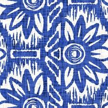 Azure Blue Block Print Flower Texture Background. Seamless White Linen Coastal Farmhouse Textile Effect. Distressed Wet Wash Batidye Ffect Style Pattern. Nautical Beach Decorative Floral Cloth Swatch