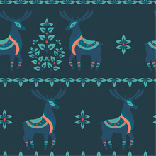 Scandinavian Pattern Blue Deer Ornament
