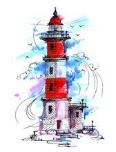 Lighthouse By The Sea. Architecture. The Building Is Red And White