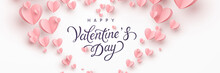 Valentine's Day Greeting Card With Pink Paper Flying Hearts On White Background. Vector Symbols Of Love Postcard Or Romantic Banner
