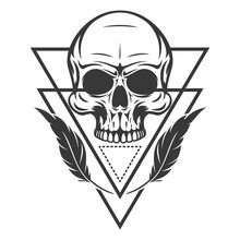 Mystic Symbol Composition With Sacred Geometry Forms And Human Skull. Vintage Art Design Concept Isolated On White Background. Modern Vector Illustration For Print, Tattoo.