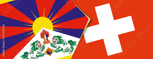 Canvas Print Tibet and Switzerland flags, two vector flags.