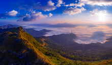 Sunrise And Misty At Doi Phatang Viewpoint, Chiangrai Province, Thailand.