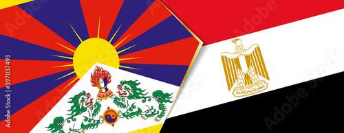 Photo Tibet and Egypt flags, two vector flags.