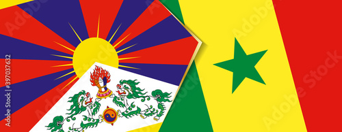 Fotografia Tibet and Senegal flags, two vector flags.