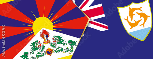 Leinwand Poster Tibet and Anguilla flags, two vector flags.
