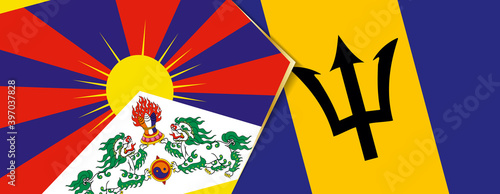 Leinwand Poster Tibet and Barbados flags, two vector flags.