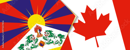 Canvas-taulu Tibet and Canada flags, two vector flags.