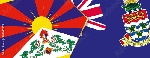 Fotografija Tibet and Cayman Islands flags, two vector flags.