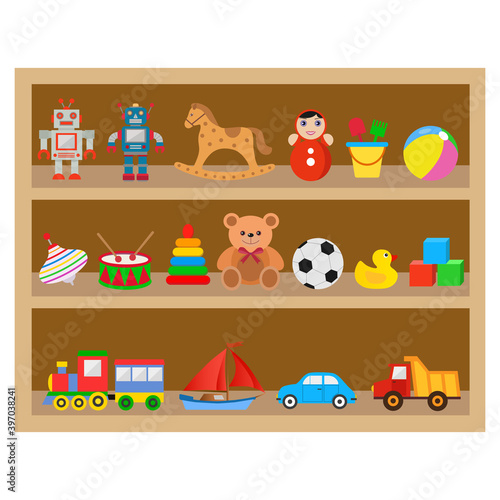 illustration of a shelf with children's toys on a white background #397038241