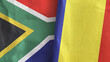 canvas print picture - Romania and South Africa two flags textile cloth 3D rendering