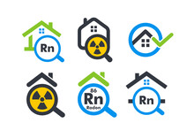 House With Magnifying Flat Cartoon Style Vector Logo Concept. Radon Home Testing Company Isolated Icon On White Background. Removal Of Radioactive Gases Sign Collection For Business And Startup