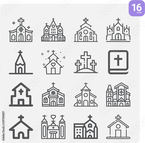 Simple set of divine service related lineal icons. Canvas