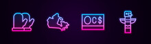 Set Line Christmas Mitten, Canada Map, Canadian Dollar And Totem Pole. Glowing Neon Icon. Vector.