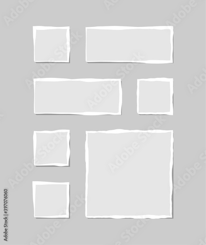 Fototapeta Set of torn white note. Scraps of torn paper of various shapes isolated on gray background. Vector illustration. obraz na płótnie